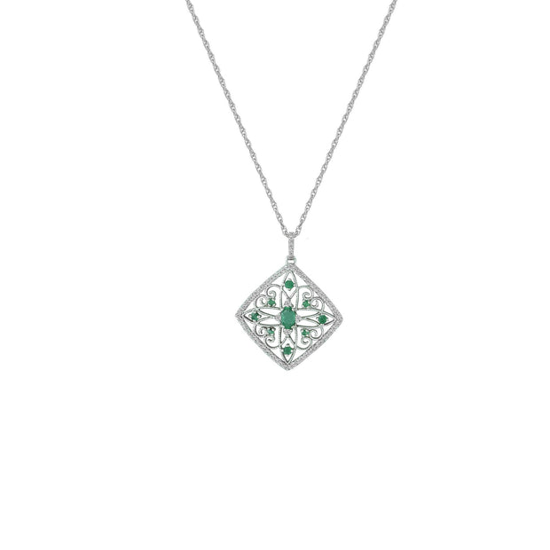 Emerald and Diamond Accent Medallion Pendant in 10K Gold