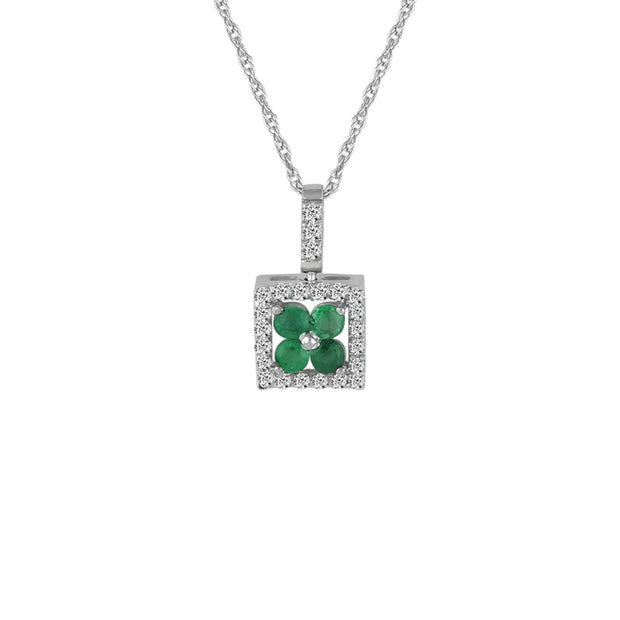 Emerald and Diamond Accent Fashion Pendant in 10K Gold