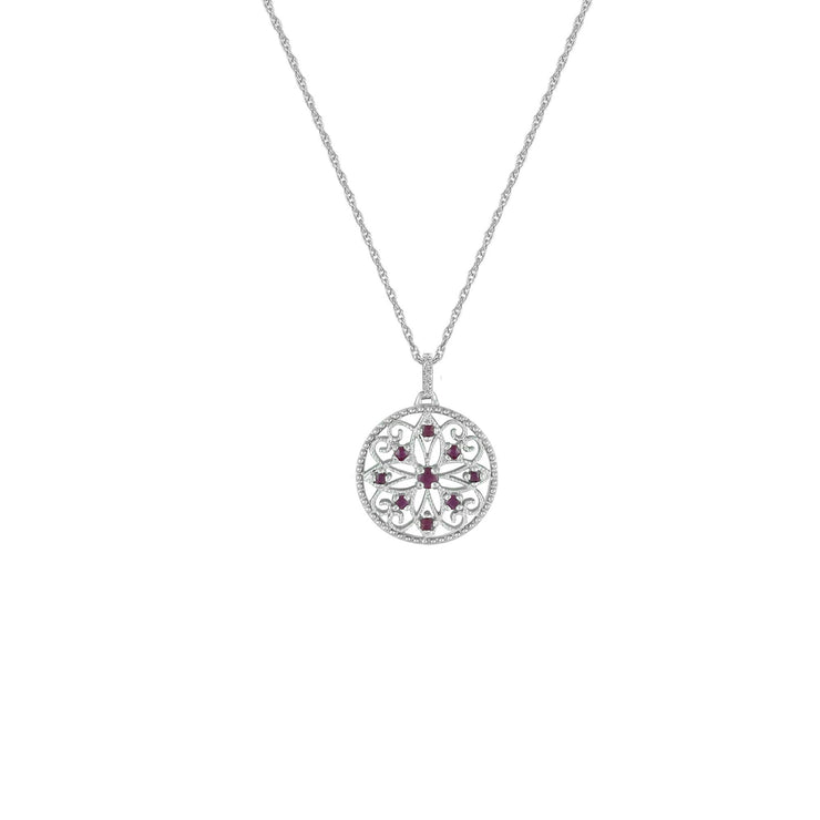 Ruby and Diamond Accent Medallion Pendant in 10K Gold