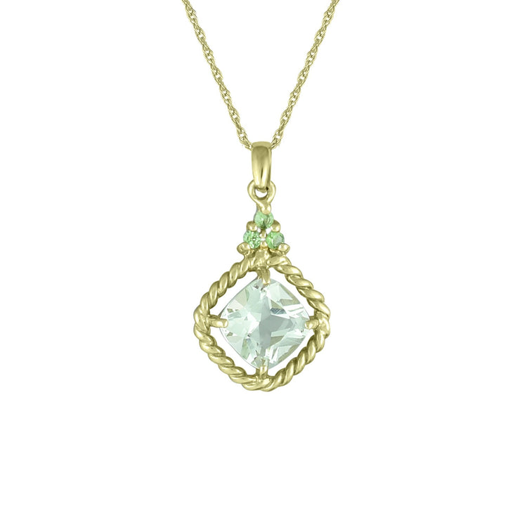 Green Amethyst and Tsavorite Fashion Pendant in 10K Yelow Gold