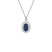 Sapphire and Diamond Fashion Pendant in 10K White Gold