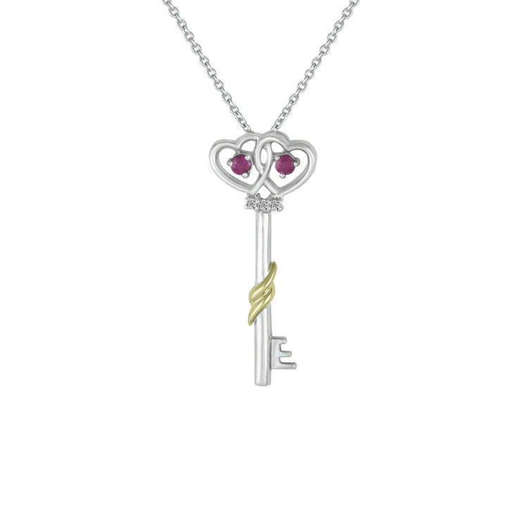 Ruby and Diamond Key Pendant in Silver and 10K Gold