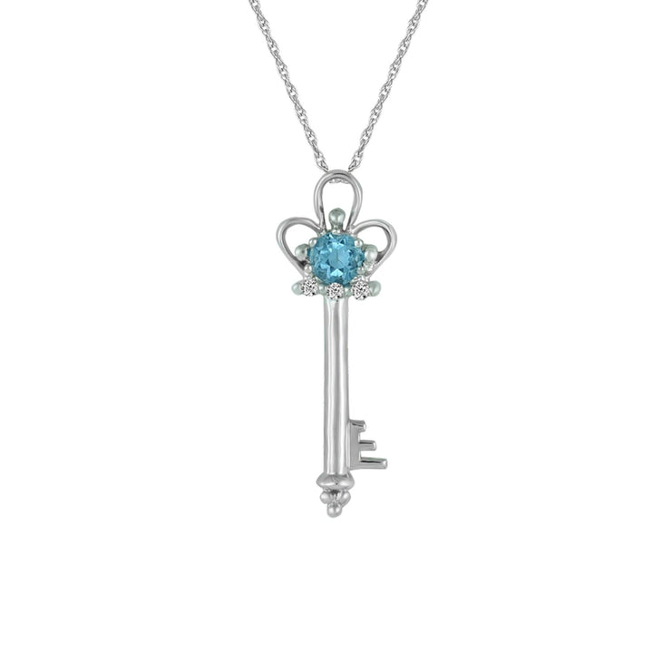 Blue Topaz and Diamond Accent Key Pendant in 10K Gold