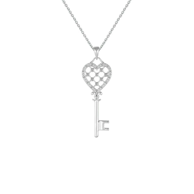 Diamond Accent Heart Key Pendant in Sterling Silver