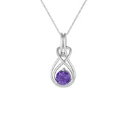 Amethyst Necklace - Amethyst & Diamond Twist Pendant in Silver