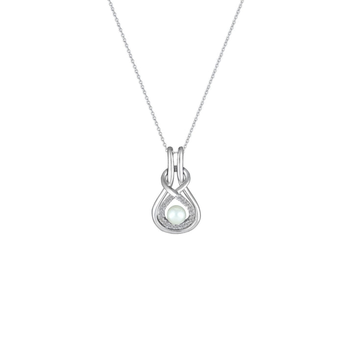 Pearl and Diamond Accent Fashion Pendant in Silver