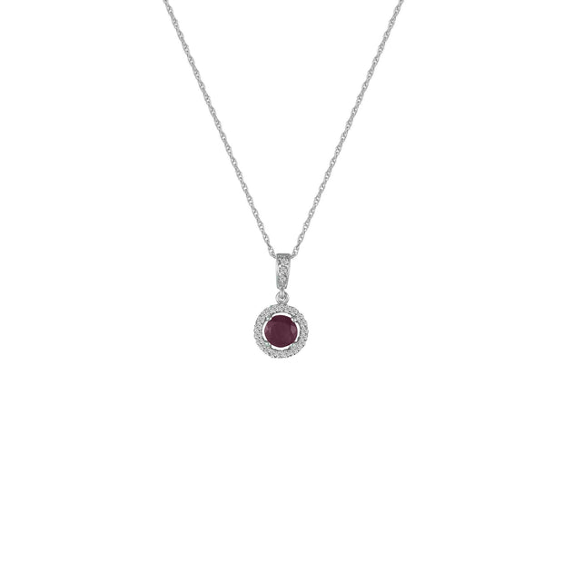 Ruby and Diamond Accent Fashion Pendant in 10K White Gold