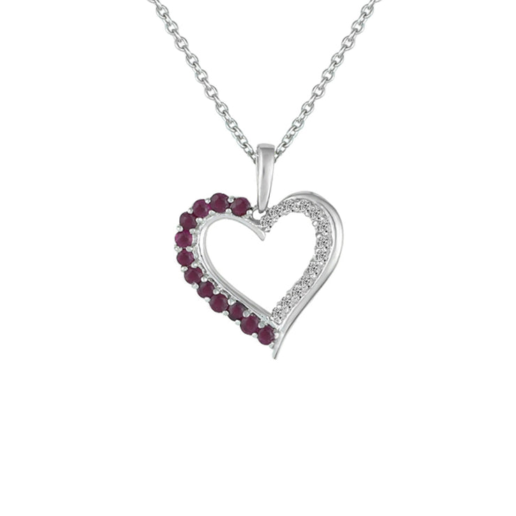 Ruby and Diamond Accent Heart Pendant in Sterling Silver