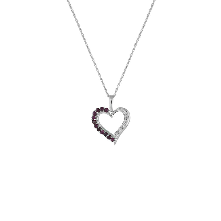 Ruby and Diamond Accent Heart Pendant in 10K White Gold