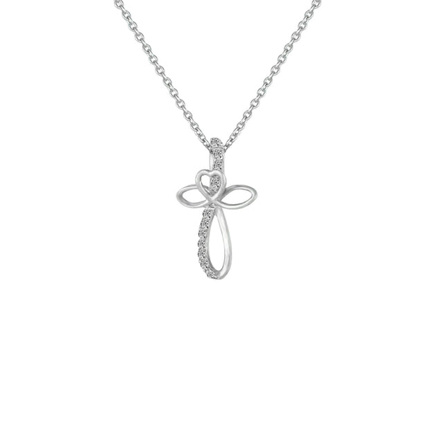 Diamond Accent Cross Pendant in Sterling Silver