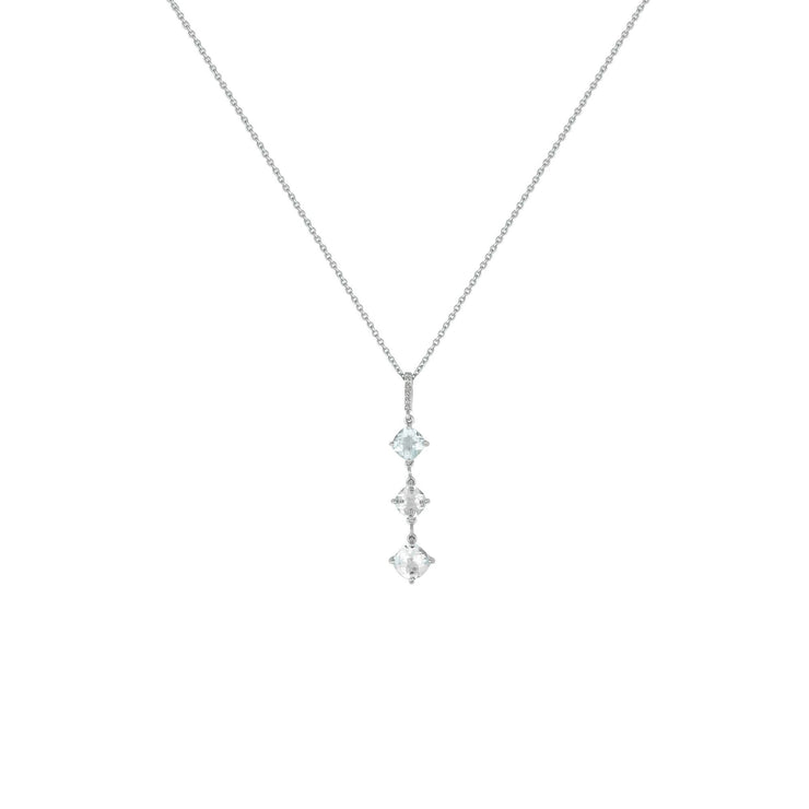 White Topaz and Diamond Accent Drop Pendant in Silver