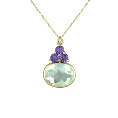 Green Amethyst and Purple Amethyst Pendant in 10K Yellow Gold