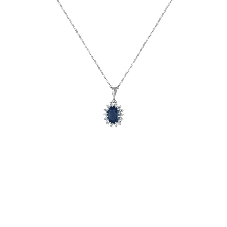 Blue Sapphire and Diamond Pendant in Sterling Silver