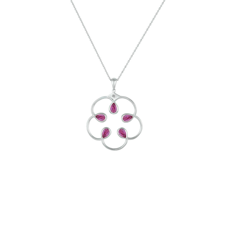 Pink Sapphire Pendant - Fashion Necklace with Created Pink Sapphires