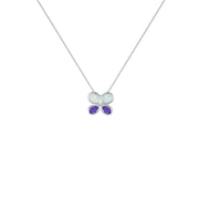 Butterfly Pendant - Created Opal & Purple Amethyst Necklace in Silver