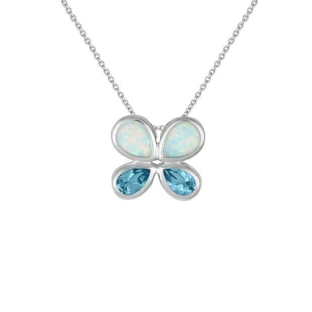 Created Opal and Blue Topaz Butterfly Pendant in Silver