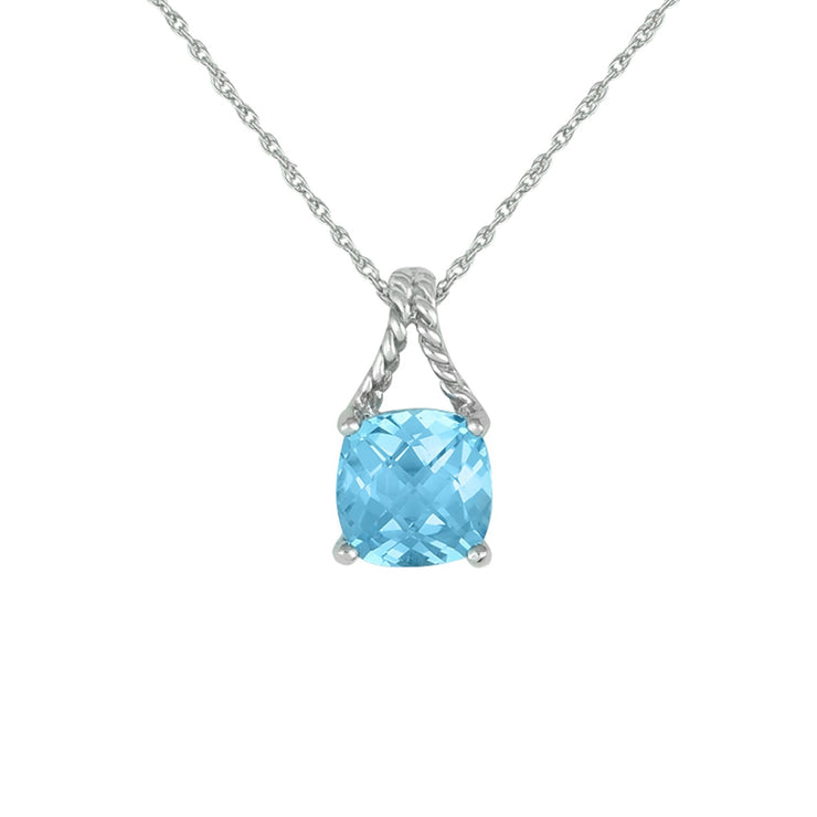 Blue Topaz Fashion Pendant in Sterling Silver