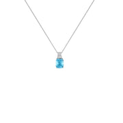 Blue Topaz Necklace - Blue & White Topaz Fashion Pendant in Silver