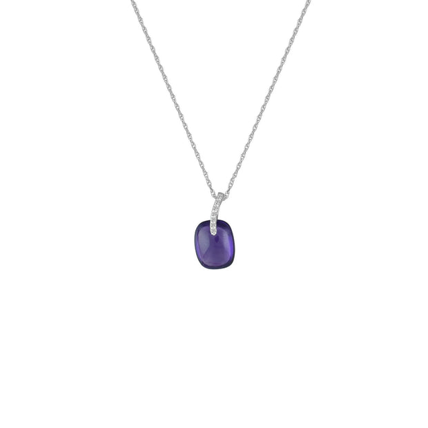 Amethyst and Diamond Accent Fashion Pendant in 10K White Gold