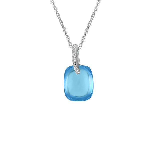 Blue Topaz and Diamond Accent Fashion Pendant in 10K White Gold