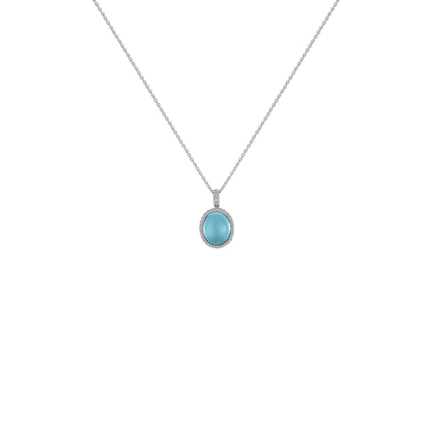 Blue Topaz and Diamond Accent Fashion Pendant in Silver