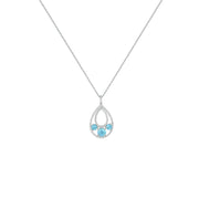 Blue Topaz and Created White Sapphire Fashion Pendant