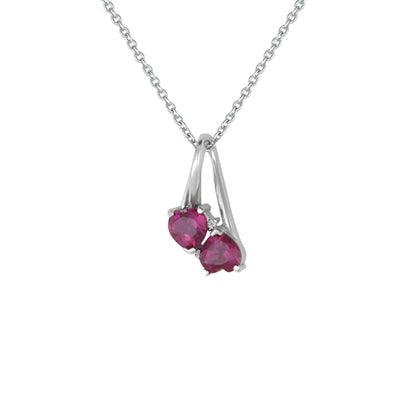Created Ruby and Diamond Accent Double Heart Pendant