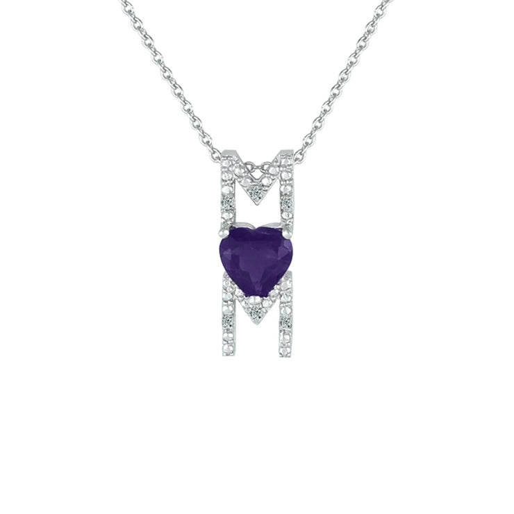 Amethyst Mom Pendant - Necklace with Amethyst Heart in Silver