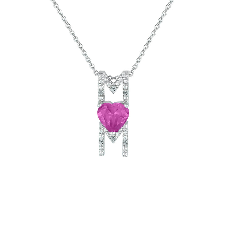 Created Pink Sapphire and Diamond Accent 'Mom' Pendant in Silver