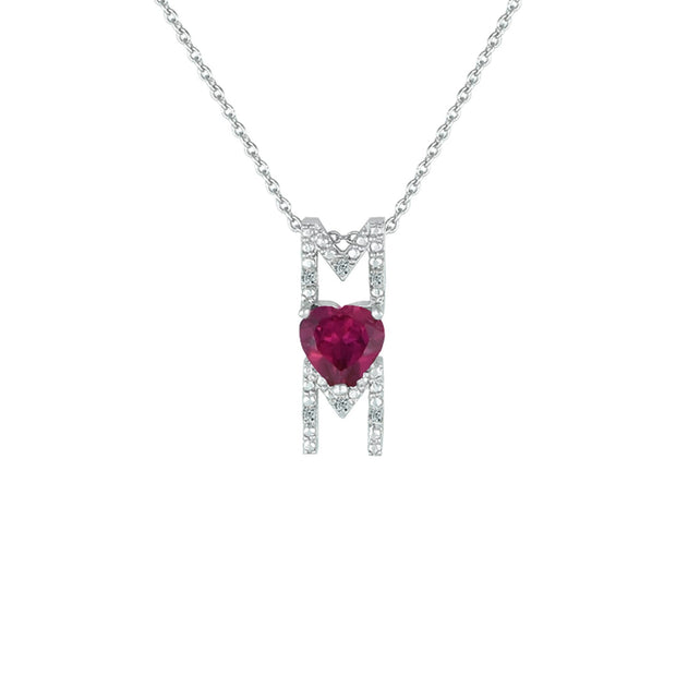 Created Ruby and Diamond Accent 'Mom' Pendant in Silver