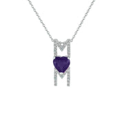 Amethyst and Created White Sapphire 'Mom' Pendant in Silver