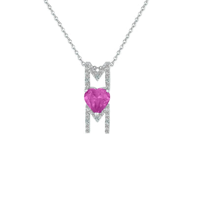Created Pink and White Sapphire 'Mom' Pendant in Silver