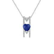 Created Blue and White Sapphire 'Mom' Pendant in Silver