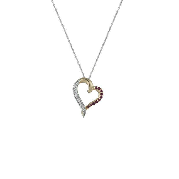 Ruby and Diamond Accent Heart Pendant in 10K Rose Gold