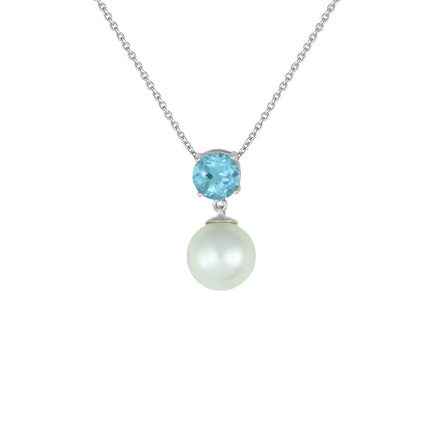 Blue Topaz and Pearl Fashion Pendant in Sterling Silver