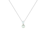 White Topaz and Pearl Fashion Pendant in Sterling Silver