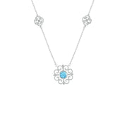 Blue Topaz and Diamond Accent Fashion Necklace in Sterling Silver