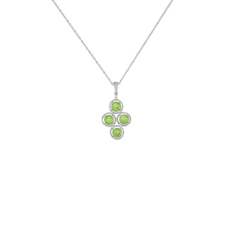 Peridot and Diamond Accent Fashion Pendant in Sterling Silver