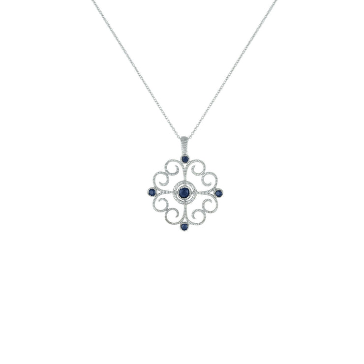 Sapphire and Diamond Accent Fashion Pendant in Sterling Silver