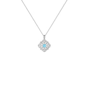 Blue Topaz and Diamond Accent Fashion Pendant in Sterling Silver