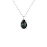 Black Onyx and Diamond Accent Fashion Silver Pendant