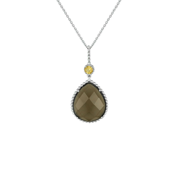 Citrine and Smokey Topaz Fashion Pendant in Sterling Silver