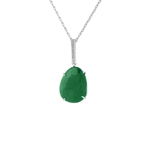 Genuine Rough Cut Emerald and Diamond Silver Pendant