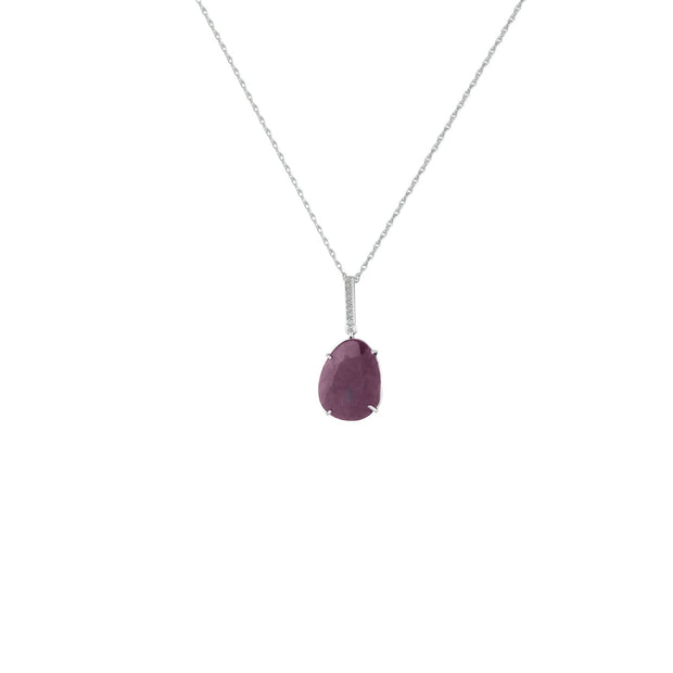 Genuine Rough Cut Ruby and Diamond Silver Pendant
