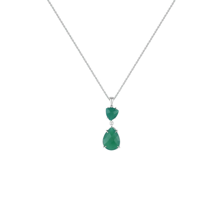 Green Onyx Drop Fashion Pendant in Sterling Silver