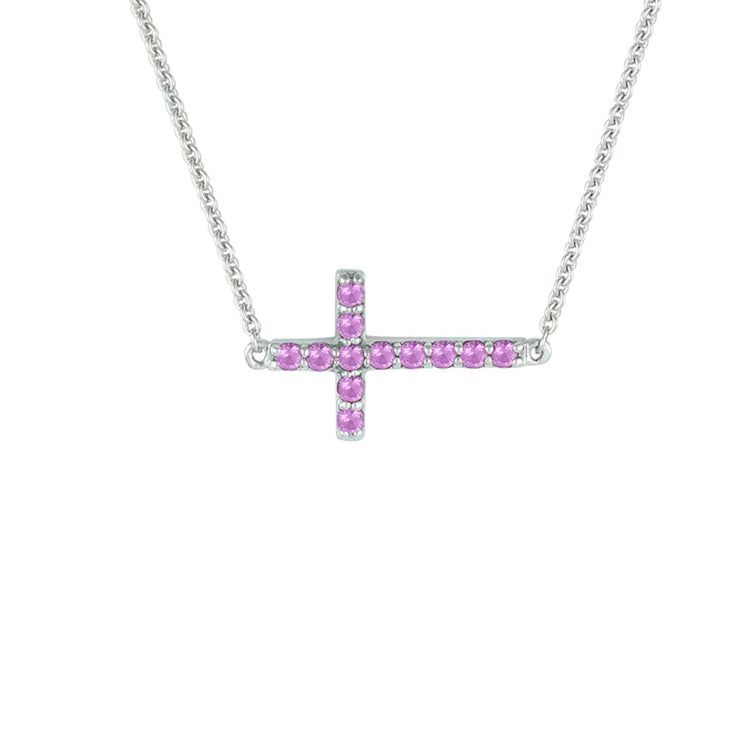 Created Pink Sapphire Sideways Cross Necklace in Silver