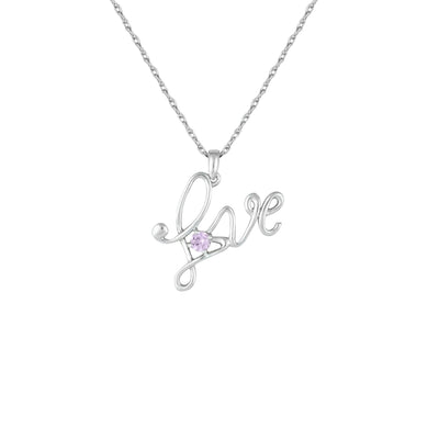 Created Pink Sapphire 'Love' Pendant in Sterling Silver