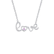 Created Pink Sapphire 'Love' Necklace in Sterling Silver