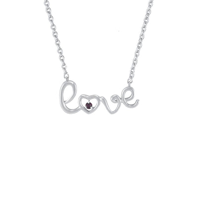 Created Ruby 'Love' Necklace in Sterling Silver