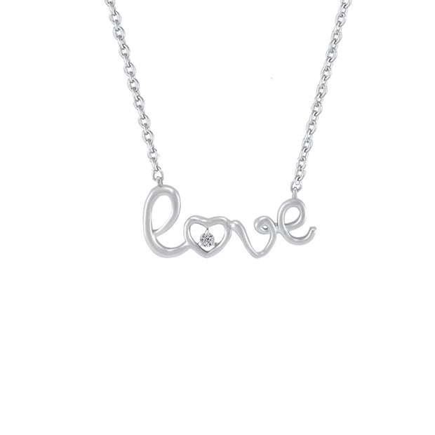 Diamond Accent 'Love' Necklace in Sterling Silver